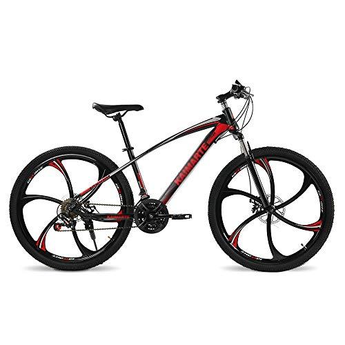 Qinmo Bicicletas de montaña for adultos, 26 pulgadas de carbono de bicicletas de montaña de acero 21-27 Velocidad completa de bicicletas MTB Suspension Con 6 cortador de ruedas, bicicletas de ciclo al