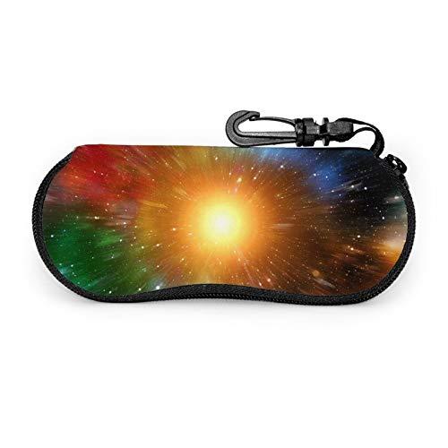 Universe Galaxy Sun Star - Funda protectora para gafas de viaje portátil con cremallera de neopreno suave para gafas con cremallera y gancho para cinturón antirrobo