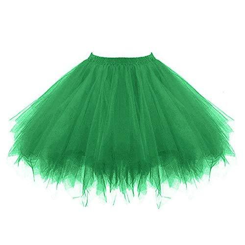 VEMOW Tutu Damenrock Cosplay Tüllrock 50er Kurz Ballet Tanzkleid Unterkleid Crinoline Petticoat Crinoline für Rockabilly Kleid Partykleder (Grün, 3XL)