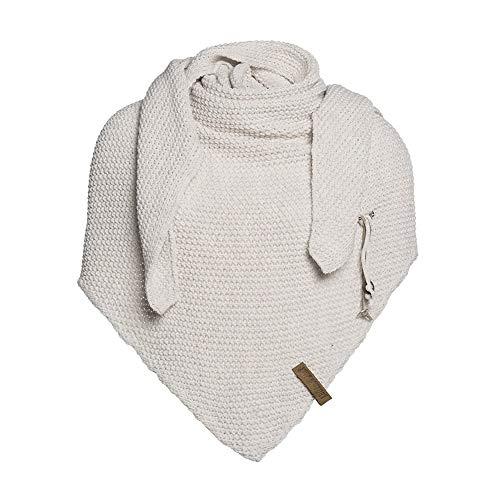 Knit Factory - Dreiecksschal Coco - Damen Strickschal mit Wolle - Hochwertige Qualität - XXL Schal - 190 x 85 cm - Beige