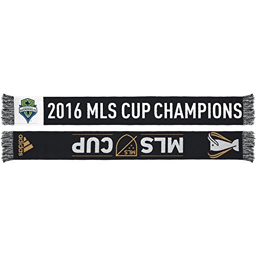 MLS Seattle Sounders Fc 2017 Cup Champions Jacquard Scarf, One Size, Black