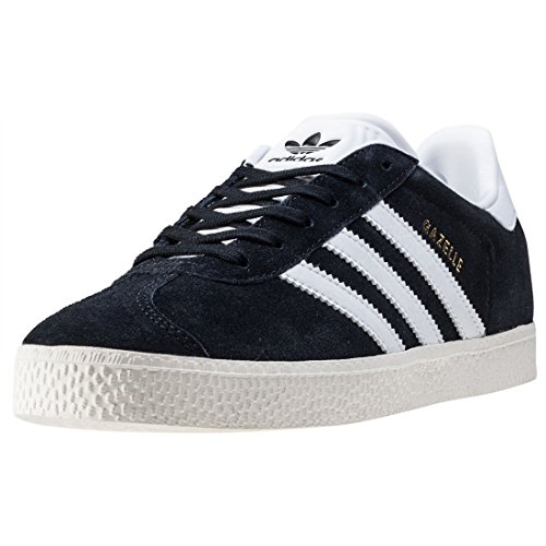 adidas Gazelle J, Baskets Mixte, Noir (Core Black/Footwear White/Gold Metallic 0), 38 EU