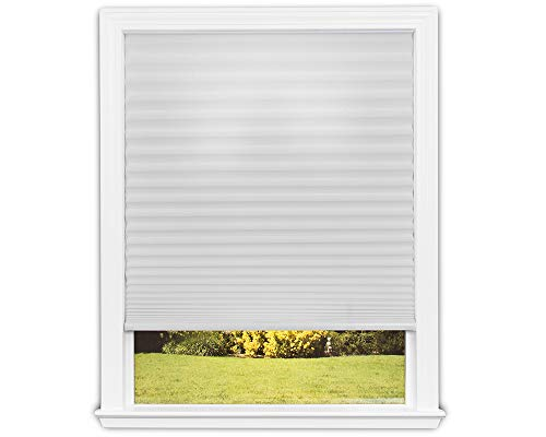 Easy Lift Trim-at-Home Cordless Pleated Light Filtering Fabric Shade White, 36 in x 64 in, (Fits windows 19'- 36')
