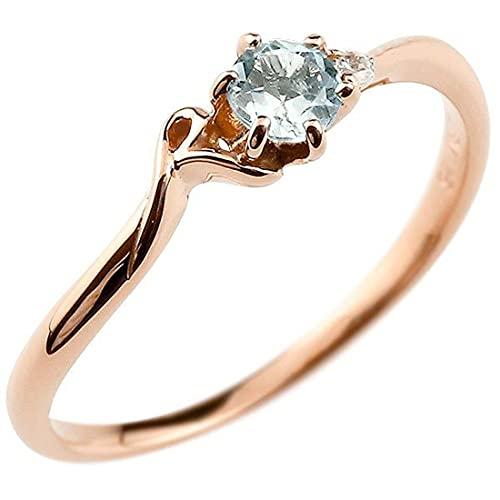[アトラス]Atrus 指輪 レディース 10金 ピンクゴールドk10 アクアマリン ダイヤモンド 指輪 イニシャル ネーム R ピンキーリング 華奢 アルファベット 3月誕生石 22号