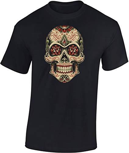 Camiseta: Mexican Skull - México Día de Muertos Calavera Mexicana Halloween T-Shirt Biker Regalo Hombre-s y Mujer-es - Noche Brujas Mexicano Santo Muerte Rimas Grabados Calaveritas Azúcar (3XL)