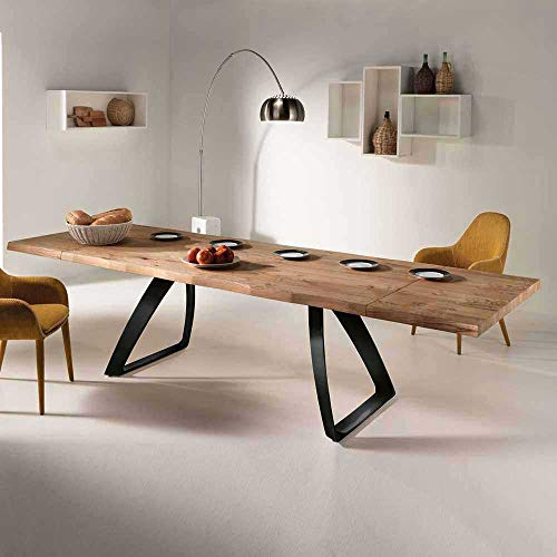 Pharao24 Design Esstisch mit Baumkante aus Eiche verlängerbar Ausführung 1