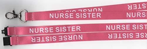 Umhängeband für Krankenschwester, bedruckt, mit Sicherheitsverschluss, Pink