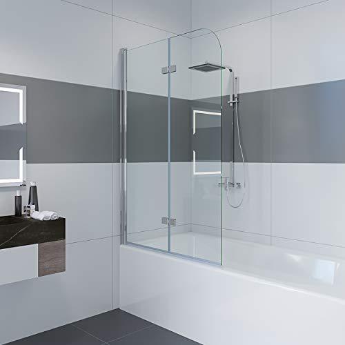 Duschwand für badewanne, 100 x 140cm Duschwand Badewannenaufsatz Duschabtrennung mit 6mm Nano Easy Clean Glas