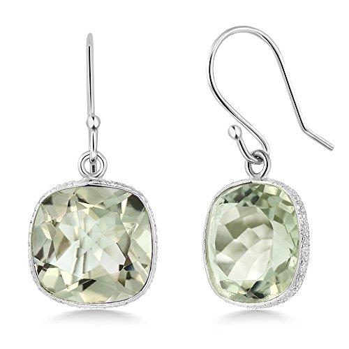 Gem Stone King 925 Sterling Silver Green Prasiolite Women's Dangle Earrings (10.00 Cttw, 11MM Cushion Checkerboard)