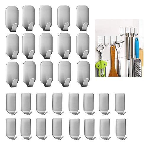 Ganchos adhesivos, 32 unidades, ganchos de pared de acero inoxidable resistente al agua, perchas para cocina, baño, bolsas, toalla, abrigo, llaves, ropa, hogar, oficinas (16 pequeños + 16 grandes)