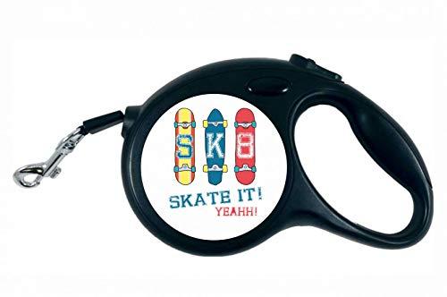 Druckerlebnis24 Rollleine - Skateboard Skaten Rollbrett Vintage - 5M Hundeleine Nylon Ergonomischem rutschfest-Griff Einziehbar