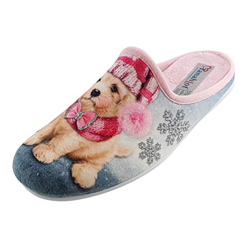 SCHUHKÖNIG Hausschuh Pantoffel Hund mit Pudelmütze rosa 5553256 (37 EU)