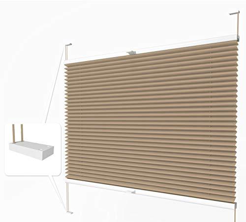 Home-Vision® Premium Plissee zum Anschrauben in der Glasleiste Innenrahmen (Beige, B85cm x H200cm) Blickdicht Plissee Jalousie mit Halterungen zum Bohren, Sonnenschutzrollo Rollo