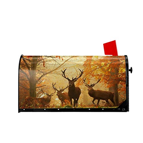 Foruidea Deers in Autumn Forest Mailbox Covers Magnetic Mailbox Wraps Post Letter Box Cover Standard Oversize 21 X 18 Mailwrap Garden Home Decor