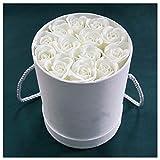 HETHYAN Regalo del día Floristería Fuente de la Boda Decoración Fresca Jabón Flor con Redondo y portátil cilíndrico Abrazo Cubo Conjunto Caja de Regalo de San Valentín (Color : Beige B)