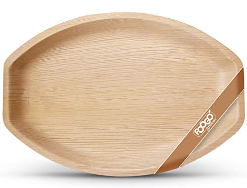 FOOGO Green 10 Disposable Palm Leaf Serving Trays   Large Oval 14'x10' (35cmx25cm)  Platters Starters Canape Wedding Plates  Like Wooden Plates   Sturdy Hot Food Trays   Eco-Friendly Food Trays