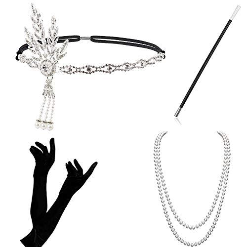 WENTS Anni '20 Accessori Gatsby 1920 Costumi Charleston Set Costume della Falda per Le Donne Flapper Fascia, Collana, Guanti, Porta Sigarette Grandi Roaring 20s