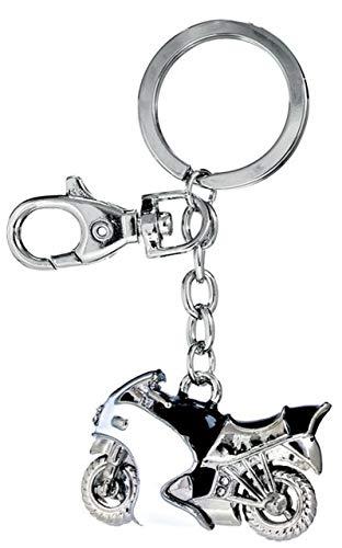 Ten Weißer und schwarzer Motorrad-Schlüsselanhänger mit Glitzer cod.EL3035 cm 10x4,5x1h by Varotto & Co.