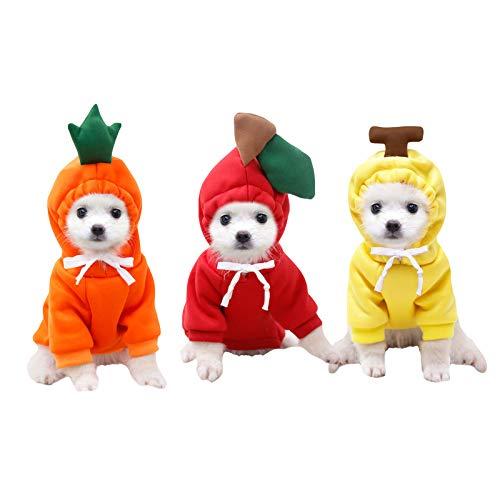 sac taske 犬の服 おもしろ ドッグウェア ペットコスチューム フルーツ 野菜 変身 猫の服 (3種セット バナナ リンゴ ニンジン)