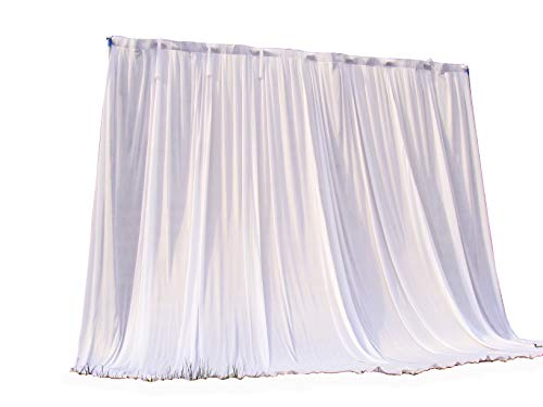 HAORUI 3m¡Á3m White Ice Silk Backdrop Curtain Without Swag for Wedding Party Event Decoration