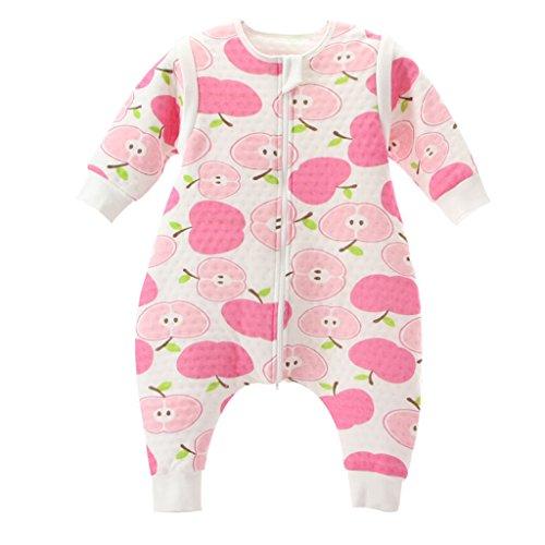 *Baby Schlafsack Mit Reißverschluss Beine Getrennt Ärmel abnehmbar 1.5 Tog,Rosa Apfel L*