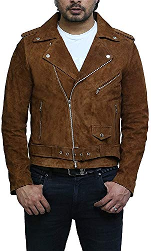 BRANDSLOCK Mens Genuine Leather Biker Jacket Vintage