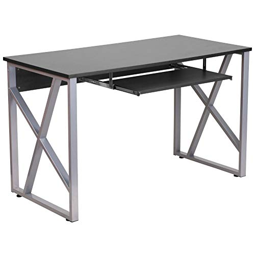 Flash Furniture Black Computer Desk with Pull-Out Keyboard Tray and Cross-Brace Frame, NAN-WK-004-GG