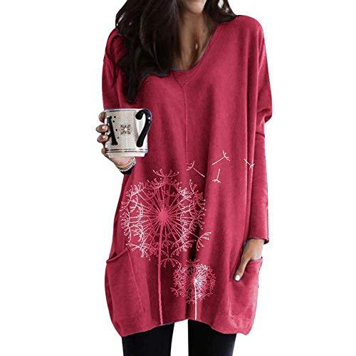 QSDM Camisetas y Blusas para Mujer Sudaderas de Mujer Tops Suéter Blusa de Manga Larga Estampada con Cuello Redondo Camiseta Mujer-Vino Rojo_SG