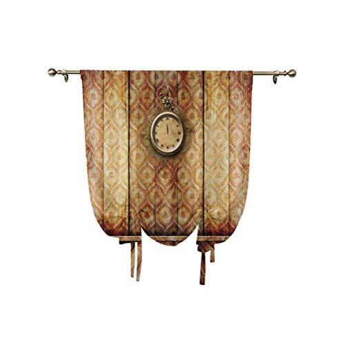 Cortina de ventana pequeña de estilo victoriano, reloj antiguo en pared de estilo medieval, suelo de madera, arquitectura clásica, pantalla opaca, 95 x 150 cm, para ventanas del hogar, beige y marrón