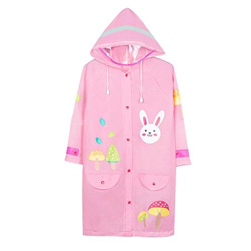 Vestes anti-pluie QFF Child Raincoat Boy Big Hat Waterproof Poncho Student Girl Rain Gear (Couleur : Rose, Taille : M)