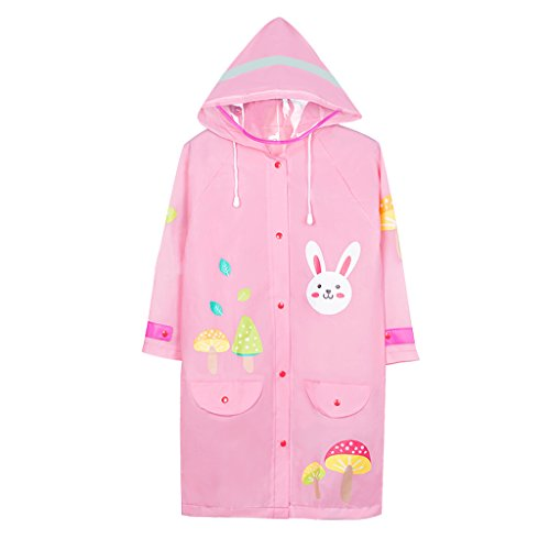Vestes anti-pluie QFF Child Raincoat Boy Big Hat Waterproof Poncho Student Girl Rain Gear (Couleur : Rose, Taille : M)