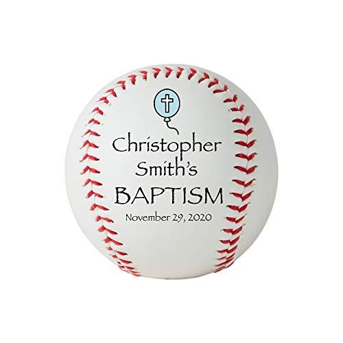 Personalized Baptism Baseball, Custom Baptism Baseball, Christening Keepsake (Blue)