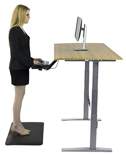 Rise Up Affordable Height Adjustable Standing Office Computer Desk Bundle with KT2 Ergonomic Keyboard Tray, Anti-Fatigue Mat (3 Items) (Gray Frame + Natural Bamboo Colored Desktop)