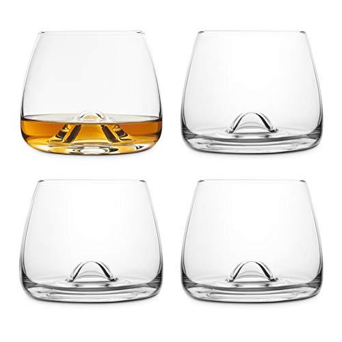 Final Touch - Bicchieri da whisky in cristallo al 100% senza piombo, realizzati con DuraSHIELD titanio rinforzato per una maggiore durata, set da whisky scozzese, 9 cm, 300 ml (confezione da 4)
