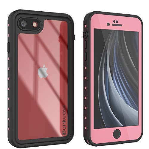 "Punkcase iPhone SE Waterproof Case [StudStar Series] [Slim Fit] [IP68 Certified] [Shockproof][Dirtproof][Snowproof] 360 Full Body Armor Cover Compatible with Apple iPhone SE (2020) (4.7"") [Pink]"
