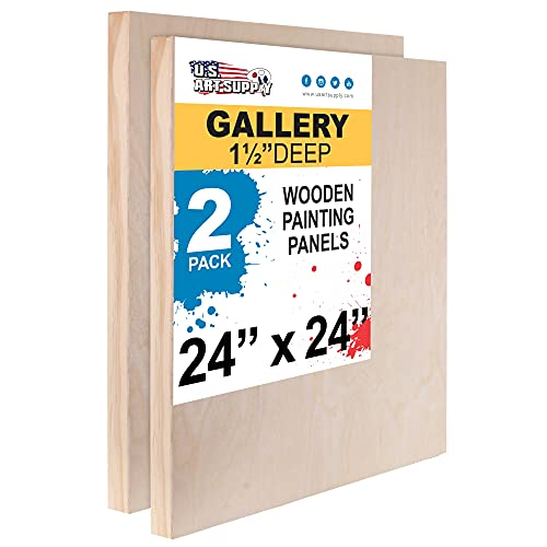 U.S. Art Supply 24' x 24' Birch Wood Paint Pouring Panel Boards, Gallery 1-1/2' Deep Cradle (Pack of 2) - Artist Depth Wooden Wall Canvases - Painting Mixed-Media Craft, Acrylic, Oil, Encaustic