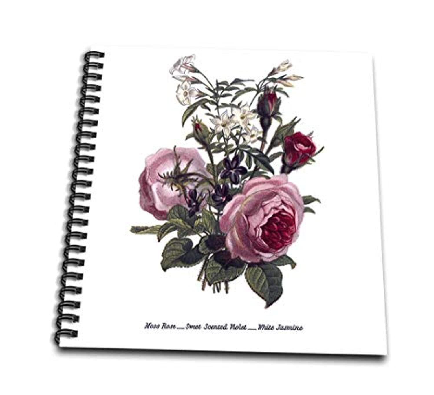 3dRose db_149625_2 Vintage Flowers Moss Rose Sweet Scented Violet White Jasmine Flowers in Pink and White Memory Book, 12 by 12