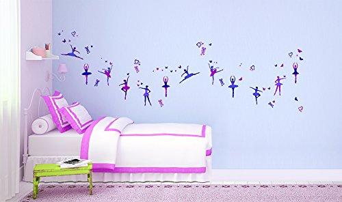 Pegatina de pared – Tatuajes de pared para habitaciones infantiles, salones, habitaciones, habitación del bebé - Decoración mural moderna –Vinilos decorativos para pared 2 x 70x25cm bailarinas
