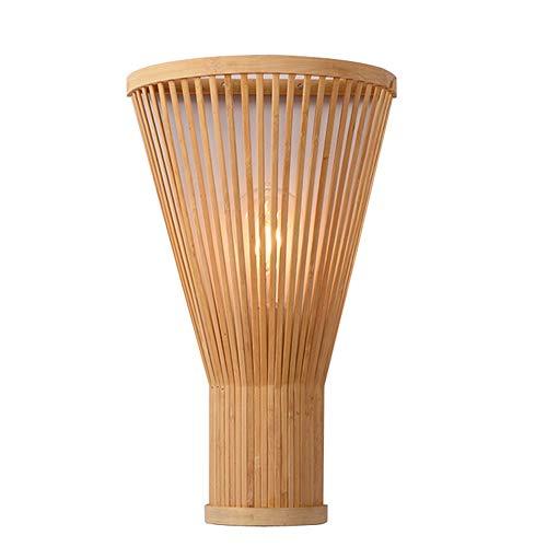 Bambú de Mimbre Pared Apliques Rústico Dormitorio de Luz Corredor E27 Apliques Edison Aplique de Pared Decoración de Linterna [Clase de eficiencia energética A+] (Crema)