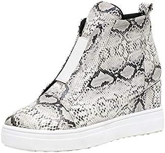 YWLINK Mujeres Zapatillas Europa Y America Retro Comercio Exterior TamañO Grande Estampado De Serpiente CuñA Ocio Botas De Mujer Botines Zapatos Romanos Antideslizante Transpirable(Beige,40EU)