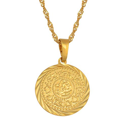 UCJHXFR Coin Charm, collana con ciondolo a forma di moneta araba africana dorata, con...