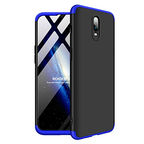 BCIT One Plus 6T Funda Funda 360 Grados Integral para Ambas Caras + Cristal Templado, Luxury 3 in 1 PC Hard Skin Carcasa Case Cover para One Plus 6T (Azul & Negro)