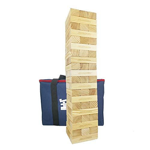 JacMok-Großer Holzspiel Wackelturm- Giant Tumble Tower Wooden- Family Stacking Games Party Toys (60 Teile, 13.5 kg) 90 cm - 150 cm