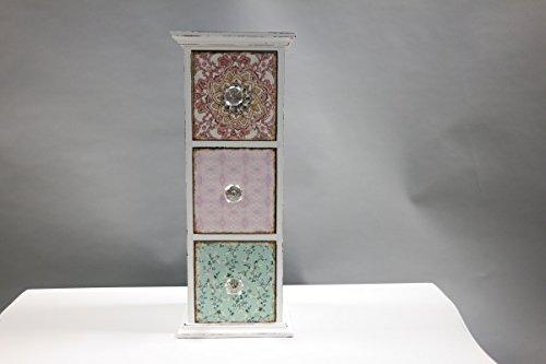 Schmuckkasten mit 3 Schubladen Holz Schmuckbox Schmuckschatulle mini Kommode