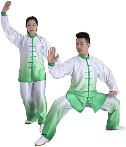 AZWE Chinesische traditionelle Tai Chi Kleidung Kung Fu Kleidung Kampfkunst Kleidung Gruppe Leistungskleidung Farbverlauf Seide Baumwolle Set Unisex,Grün,S