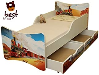 Best For Kids Children s Bed with Foam Mattress with TUV CERTIFIED 80x180 WITH TWO DRAWERS TRAIN