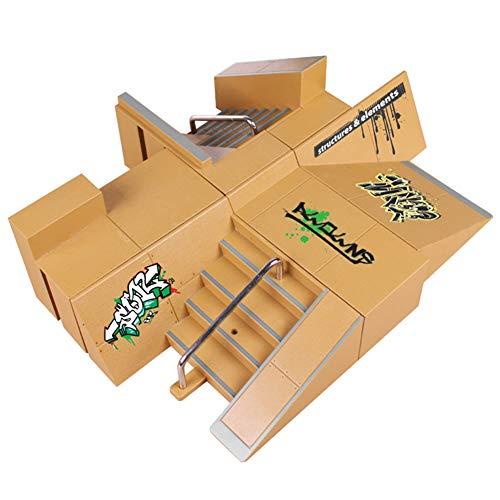 Dengofng Juguetes preescolares Finger Skateboard Park Track, Mini Fingerboard Rails Starter Training Props monopatin de un Dedo Kit de Skate Park Ramp Parts para Finger Skateboard