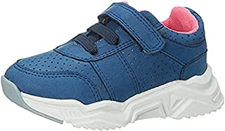Skippy Velcro Closure Lace-Up Perforated Sneakers for Girls - Navy, 22 EU