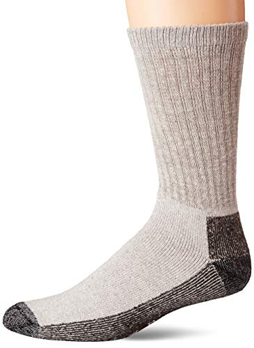 Wigwam Men's At Work Sock - 2 Pack (6 Pairs) - Cotton Blend Cushioned Crew (Grey, Large)
