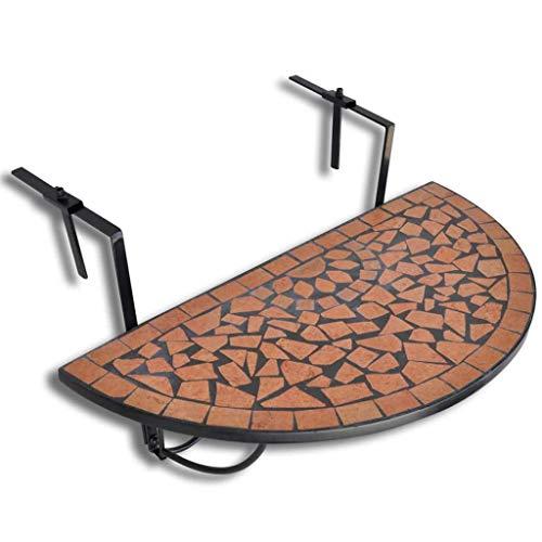 binzhoueushopping Table de Balcon Suspendue Demi-Circulaire 76 x 56 x 64 cm (L x l x H) Terre Cuite apportera Une Touche additionnelle à Votre Balcon